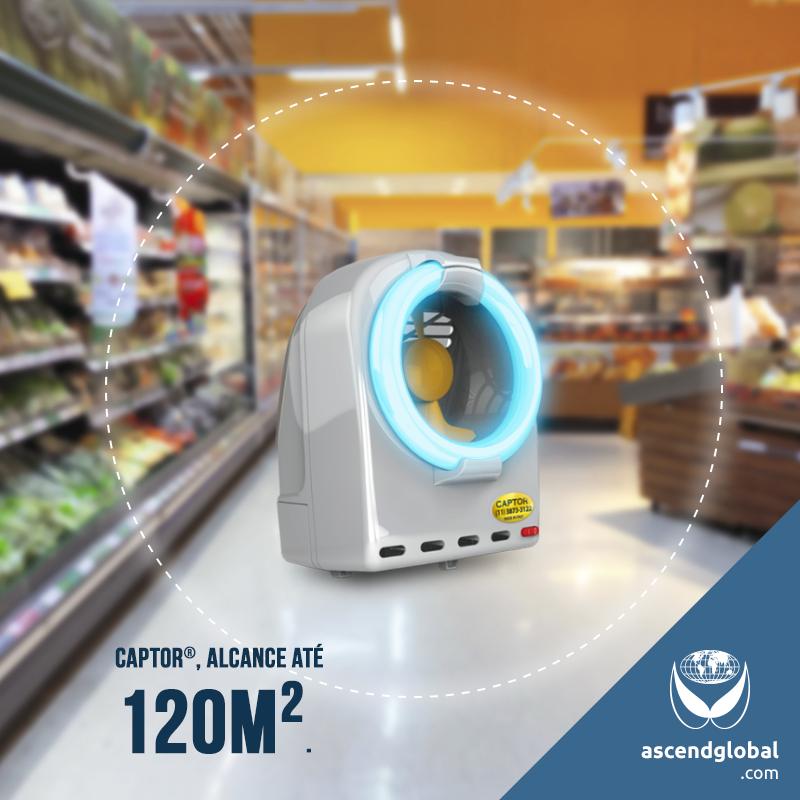 CAPTOR®, Armadilha Luminosa Profissional nas Redes Sociais em Fevereiro e Março-Com alcance de 120m², CAPTOR® é a solução ideal para empresas de alimentação.
