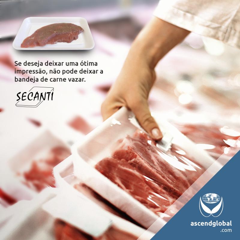 Secanti®, Absorvente para Alimentos nas Redes Sociais em Janeiro e Fevereiro-Bandeja de carne pingando pode manchar a reputação do seu negócio. Conheça o absorvente para alimentos Secanti®.