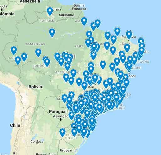 Mapa das armadilhas luminosas para insetos voadores vendidas pelo Brasil